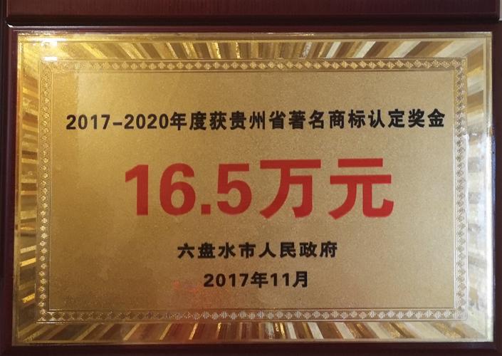 2017-2020年度获乐天堂国际省著名商标认定奖金16.5万元